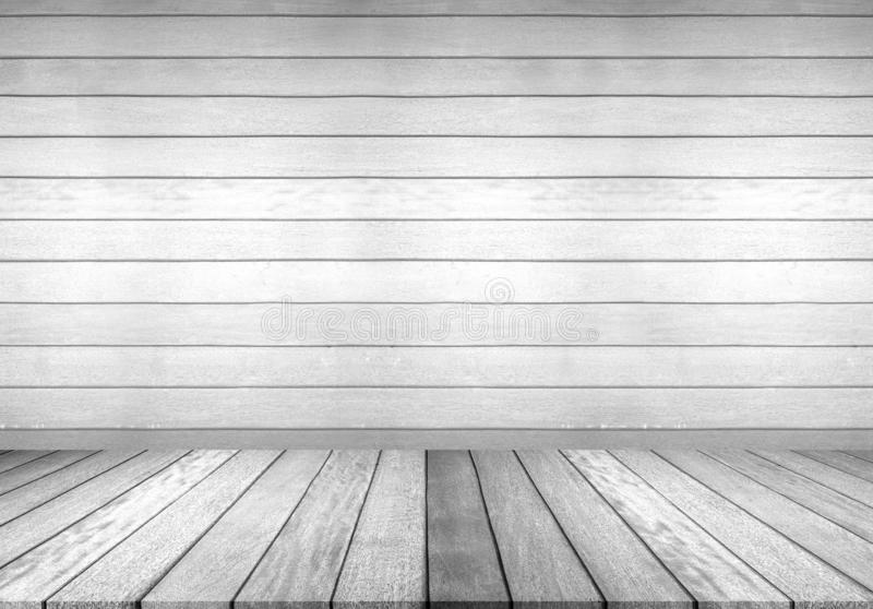 Wood floor and wall, empty room for background. Big empty room in grange style with wooden floor. Wood floor and white wall, empty room for background. Big empty stock images