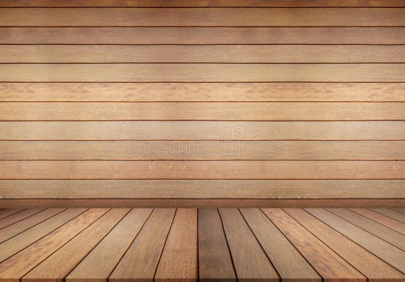 Wood floor and wall, empty room for background. Big empty room in grange style with wooden floor. Wood floor and white wall, empty room for background. Big empty royalty free stock photography