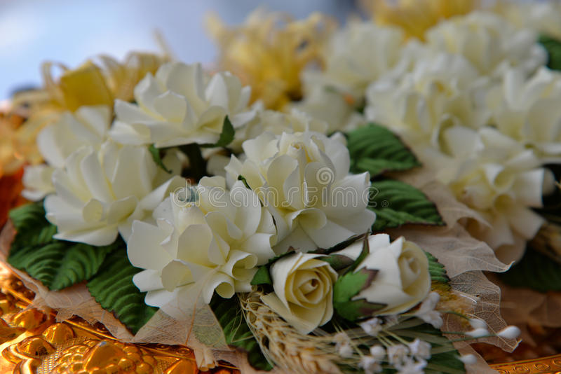 Wood flower to be placed on the site of cremation stock photos