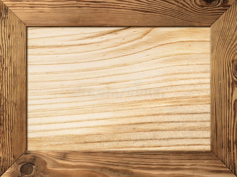 Wood Frame. Natural wood frame with wooden plank inside royalty free stock photos