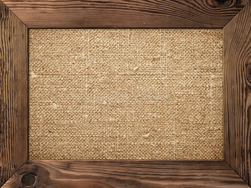 Wood Frame. Old wooden frame with cotton canvas inside stock photography