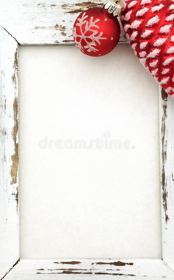 Wood Frame with christmas decoration royalty free stock photos
