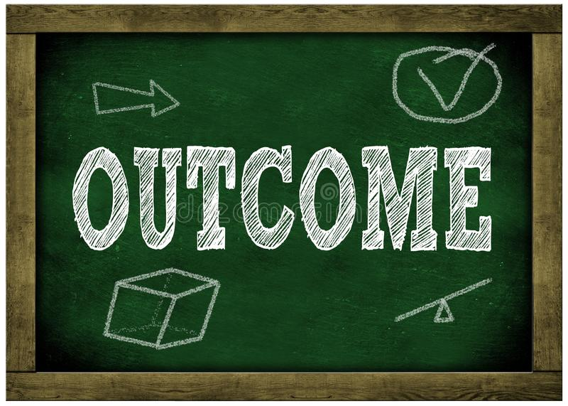 Wood frame green chalkboard with OUTCOME message handwritten in chalk. Illustration royalty free illustration