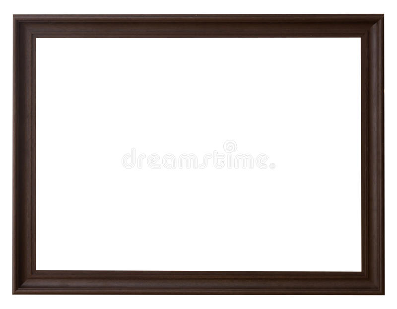 Wood frame horizontal for picture on isolated white royalty free stock photography