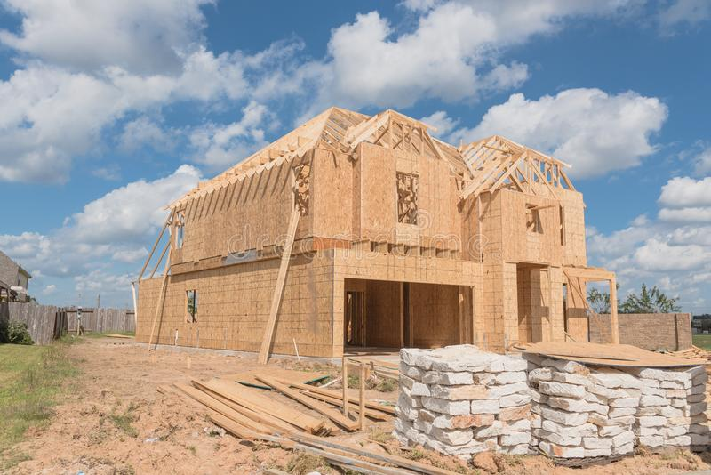 Wooden frame house under construction Pearland, Texas, USA stock images