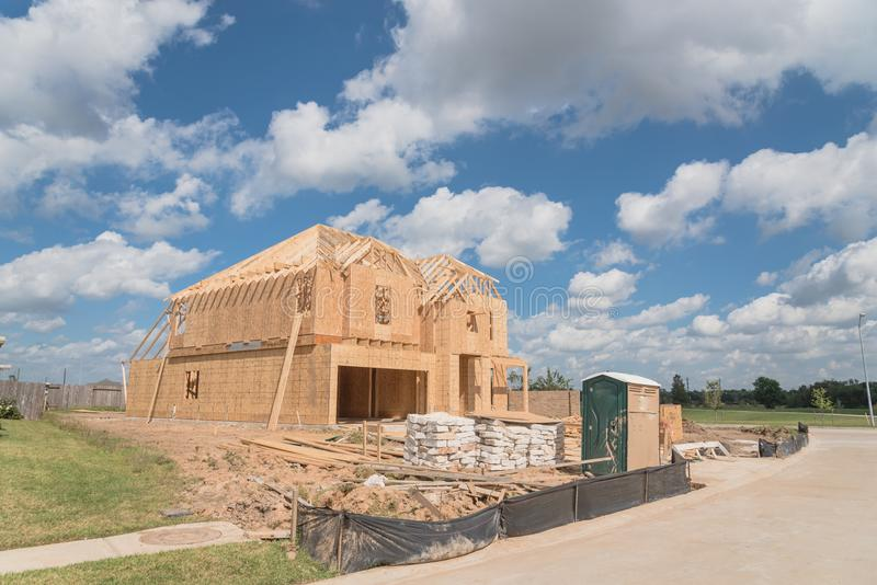 Wooden frame house under construction Pearland, Texas, USA royalty free stock photo