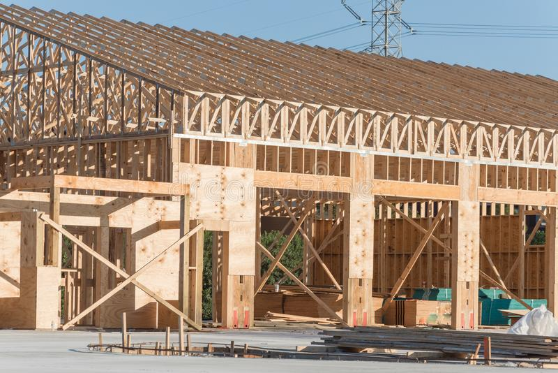 Wooden commercial building construction royalty free stock photos