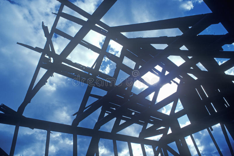 Wood frame of house under construction in silhouette, Lone Pine, CA royalty free stock photos
