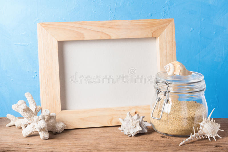 Wood frame and sea element stock photography
