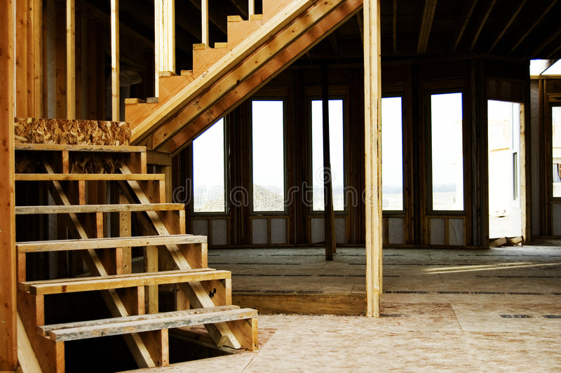 Wood Frame Stairs Home Construction stock photos