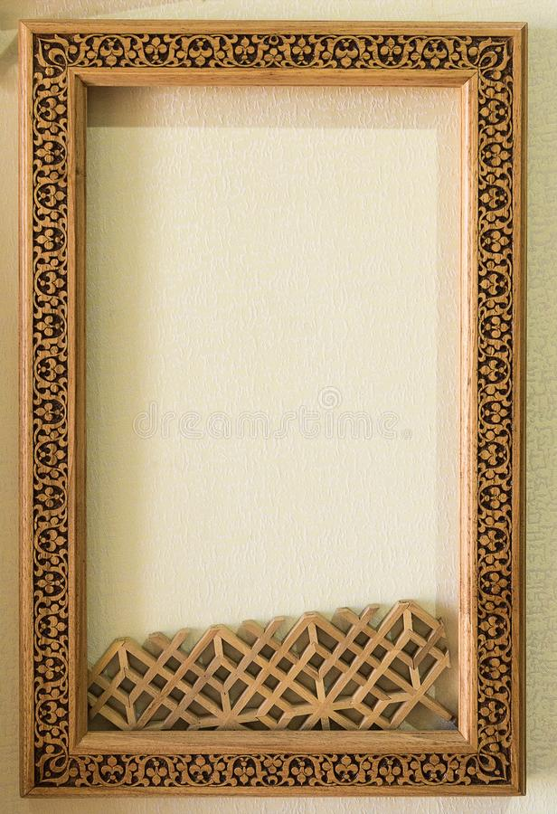 Wood Frame On The Wall. Wooden Frame With Middle Eastern Ornament ...
