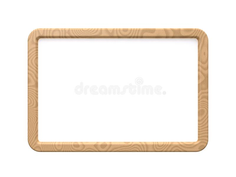 Wood frame white board mock up 3d render stock illustration