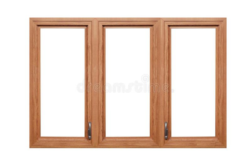 Wood frame on white with two handles. Brown wood window isolated on white stock image