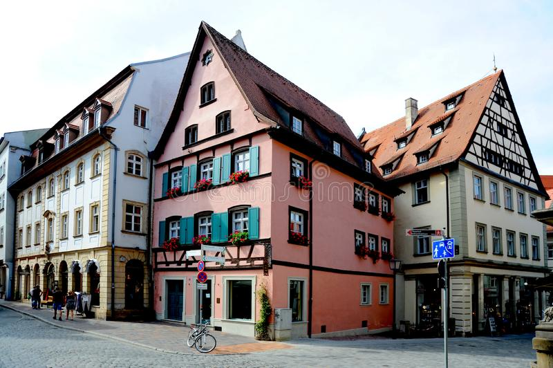 A typical old town street in Germany, this is in Bamberg, Germany stock photos