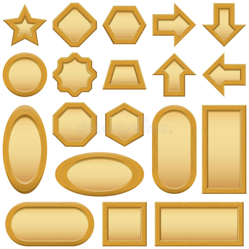 Download Wood frames buttons, set stock vector. Image of paper - 32002465