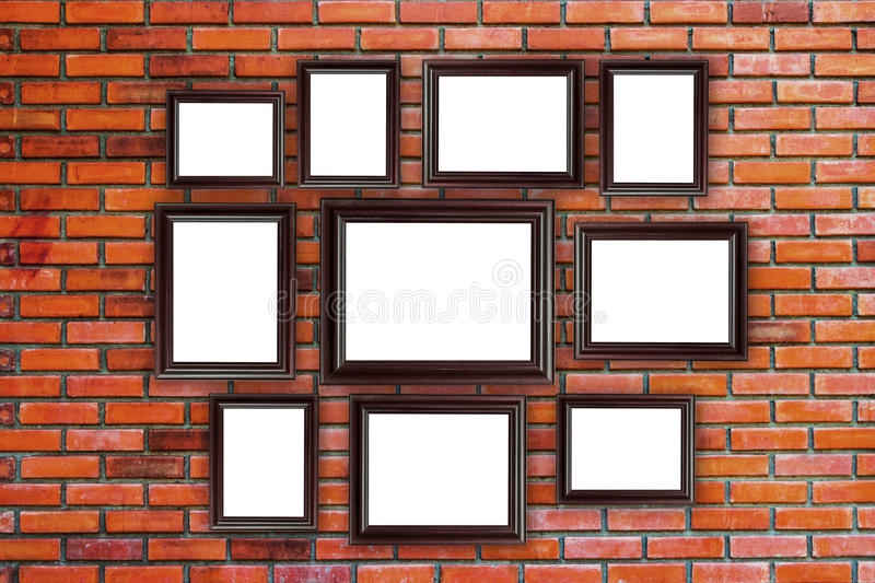 Wood Frames Photo On Red Brick Wall Stock Photo - Image of gallery ...