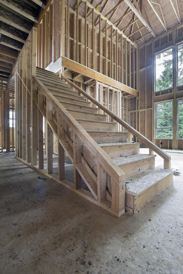 Wood Stud Framing For Staircase In New House Construction