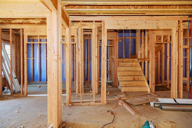 Wood Framing Work In Progress With Wood Framing Walls And Ceiling Or ...
