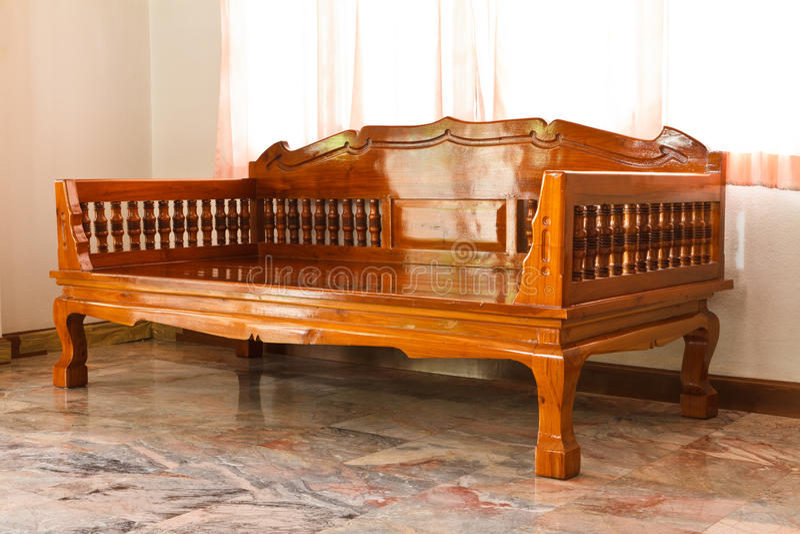 Wood furniture. Modern furniture in the room stock photo