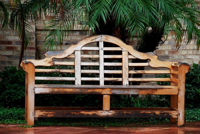 Wood Garden bench stock images