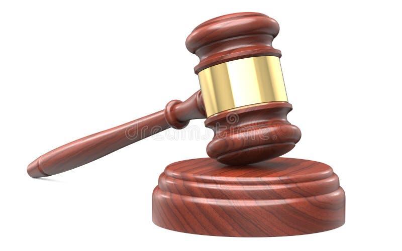 Wood Gavel Σφυρί για δικηγόρους, δικαστές της αίθουσας και πώληση πλειστηριασμών Έννοια της απόφασης του δικαστηρίου 3δ απεικόνιση αποθεμάτων