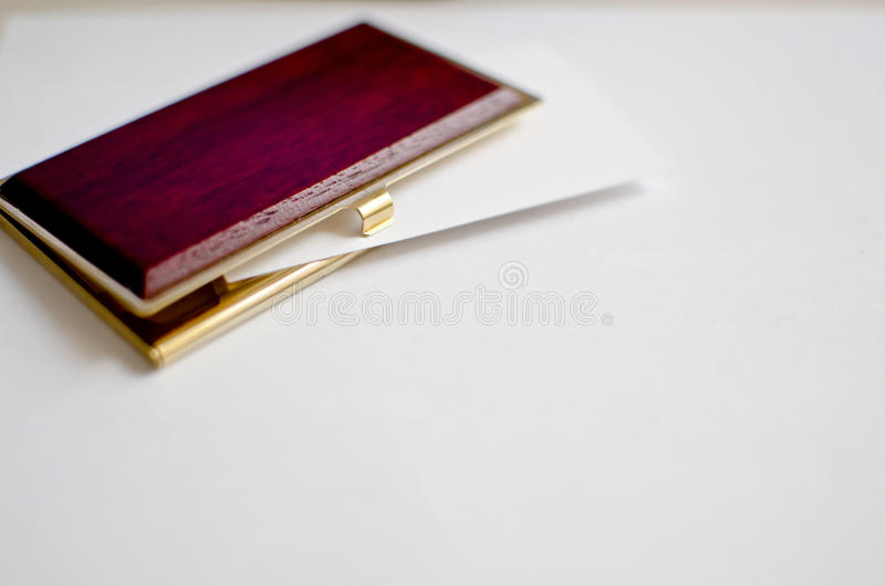 Download Wood And Gold Business Card Holder Stock Photo - Image of blank, card: 33817418