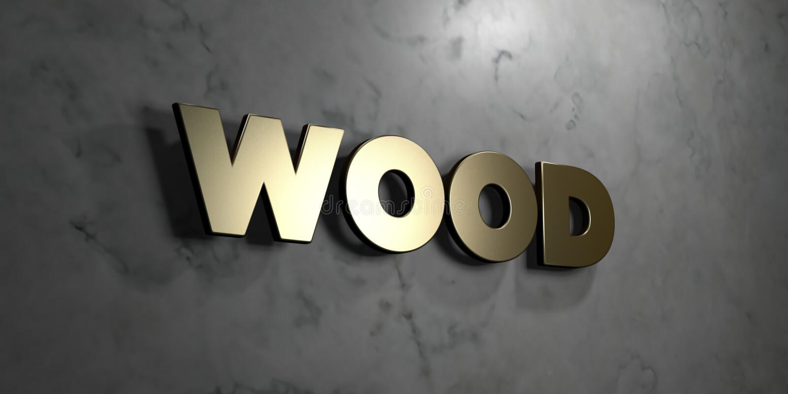 Wood - Gold sign mounted on glossy marble wall - 3D rendered royalty free stock illustration vector illustration