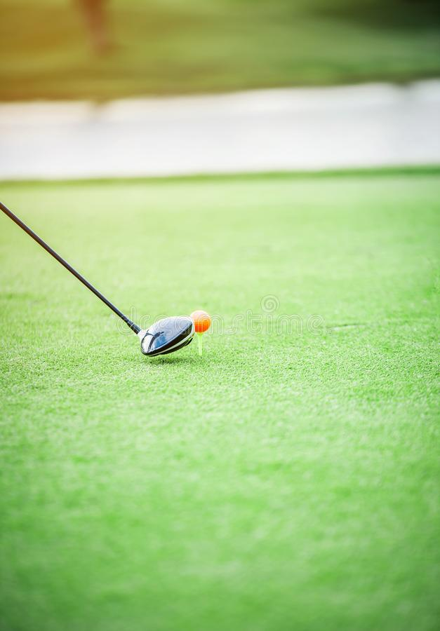 Wood golf club head is about to hit a golf ball on the green grass. royalty free stock photos