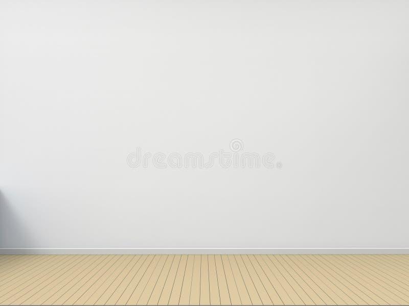 Wood golv för tomt rum med vit väggsamtidavardagsrum vektor illustrationer