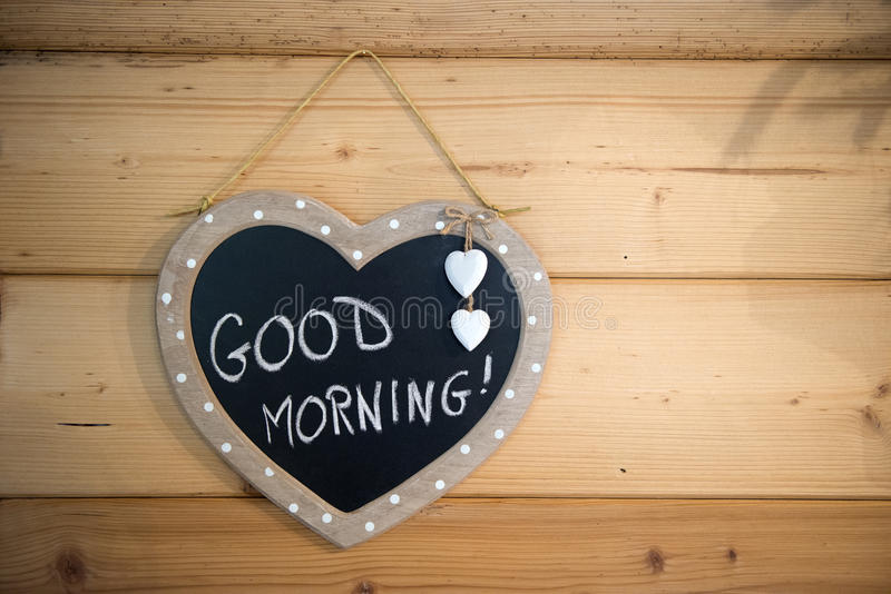 Wood Good Morning. In kithen stock images