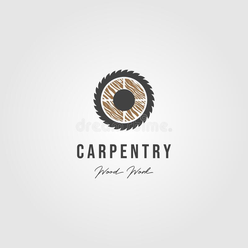 Wood grinding carpentry logo vector icon illustration vector illustration