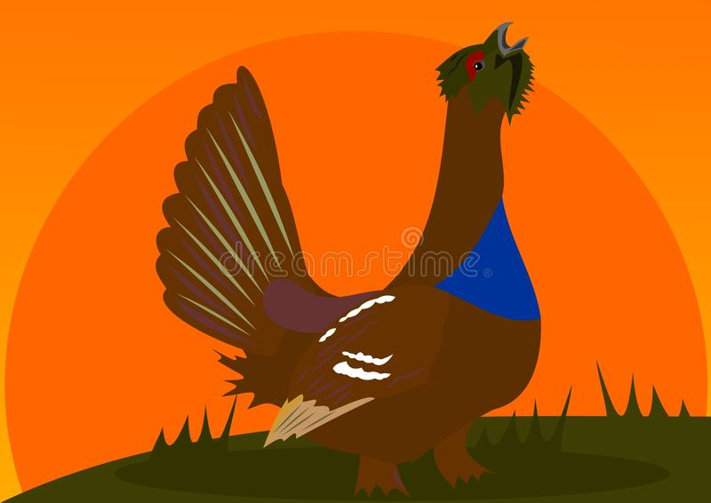 Download Wood-grouse stock vector. Image of hunting, grass, wood - 25617395