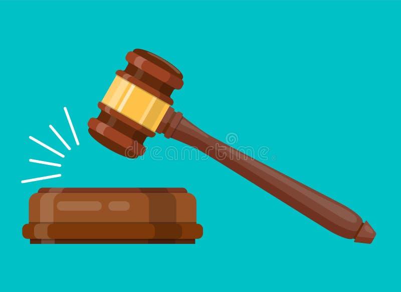 Wood hammare för domare royaltyfri illustrationer