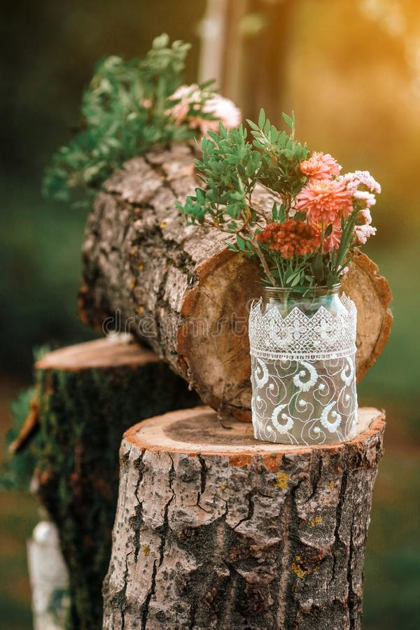 Wood Hand Made Welcome Wedding Decoration. Rustic wedding photo zone. stock photography