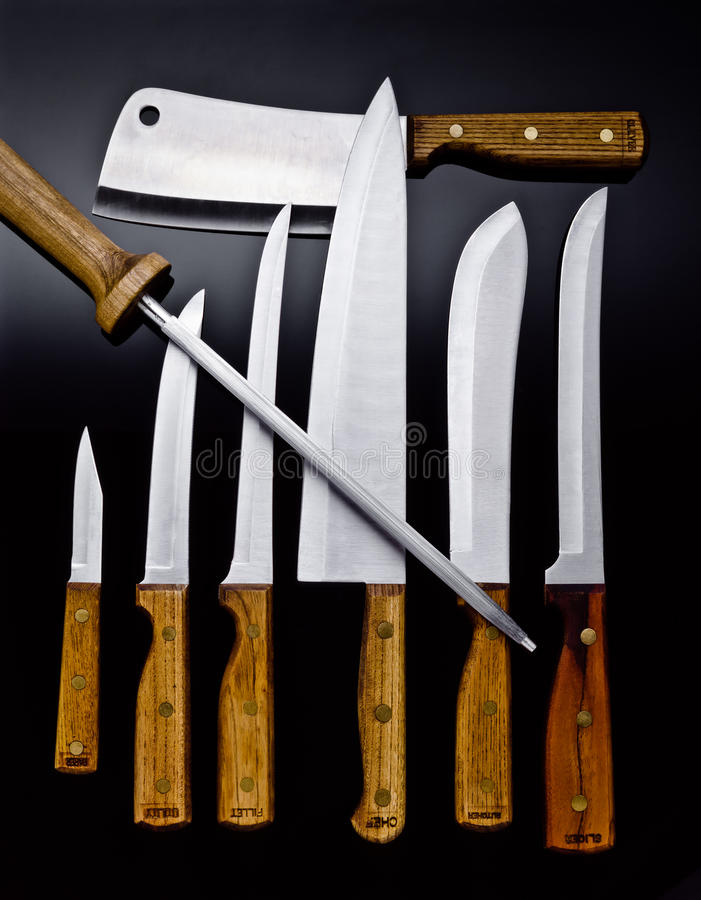 Free Wood Handle Chef Knives And Cutlery Stock Photos - 13047183