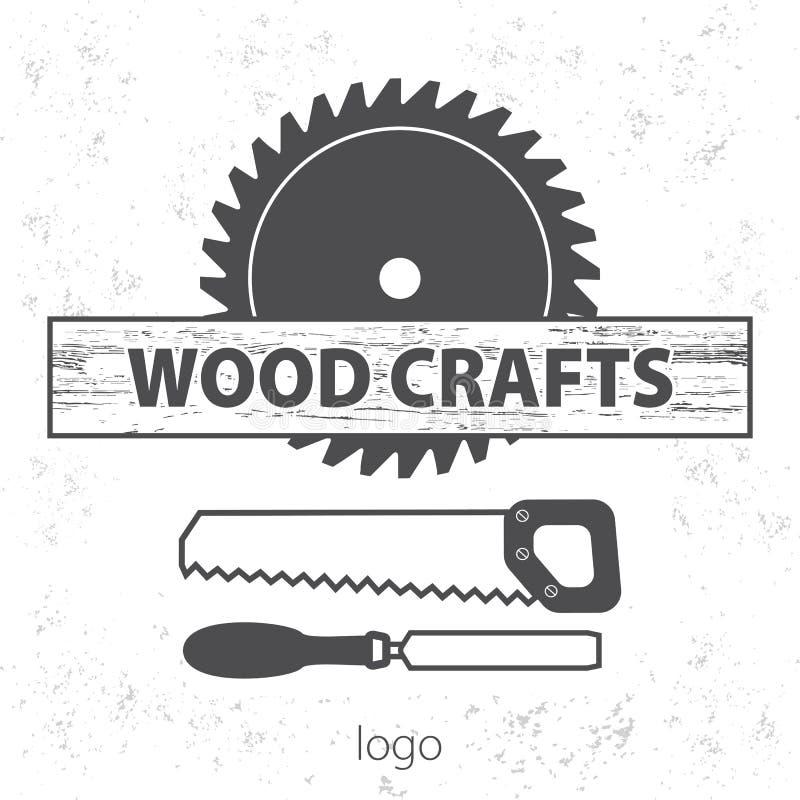Wood hantverklogo Yrkesmässig service för träverk Lantgårdtryckstämpel vektor illustrationer