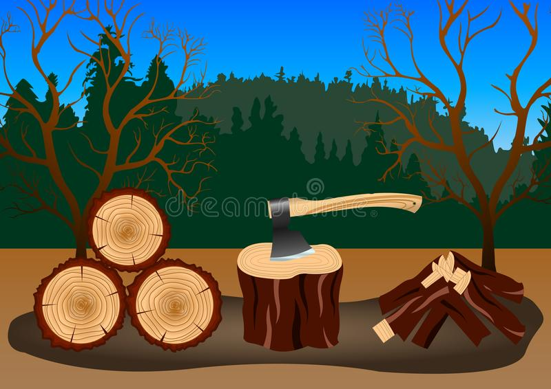 Wood harvesting in the forest royalty free illustration