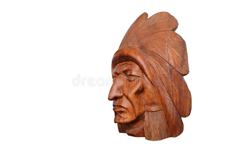 Wood head Indian on white background with clipping path stock photography