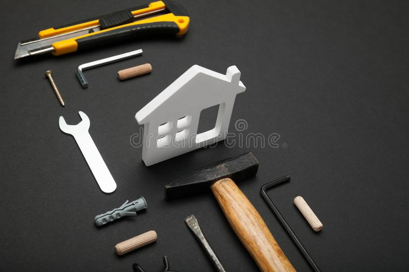Wood home construction concept, house building diy royalty free stock photography