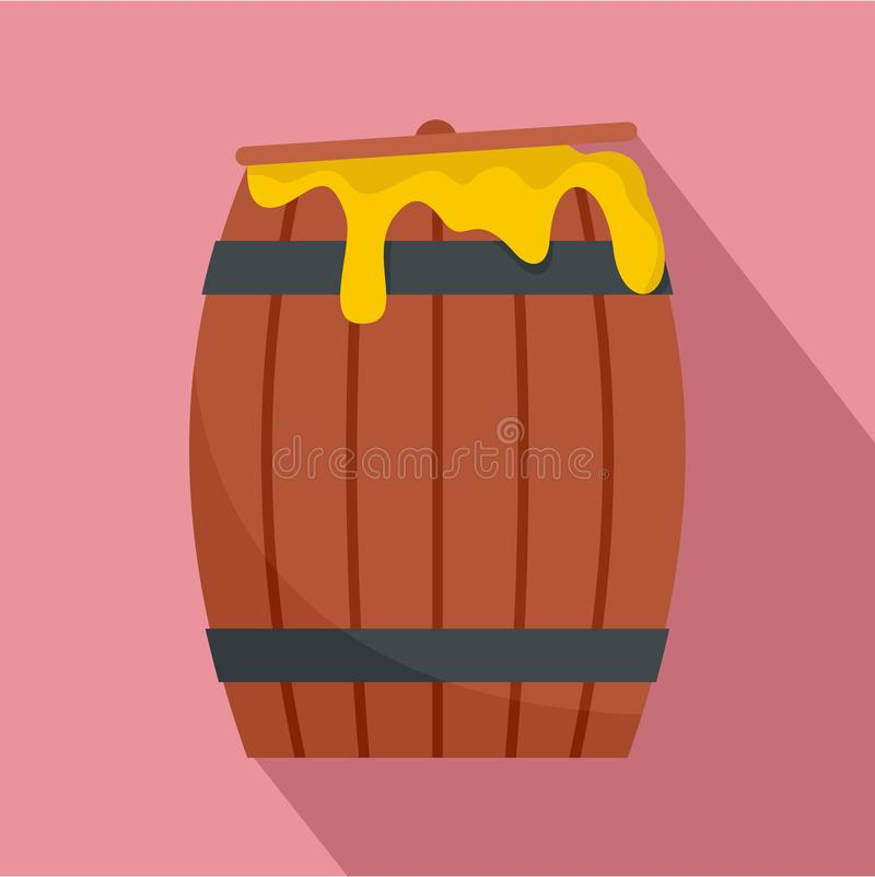 Wood honey barrel icon, flat style royalty free illustration