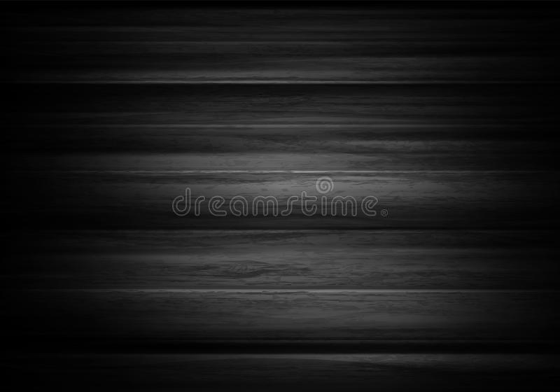 Wood horizontal background in vector. Black background with text stock images