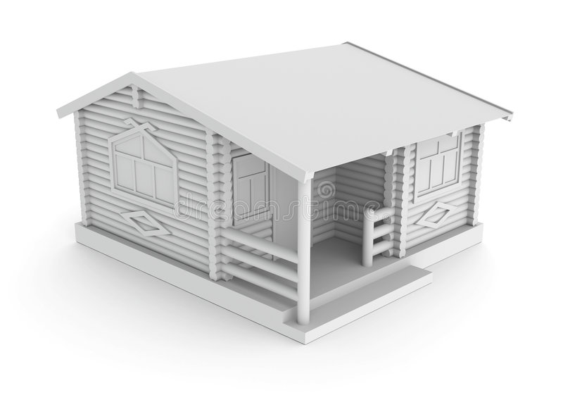Wood house concept. Wooden house concept. Computer generated three dimensional concept, against a white background stock illustration