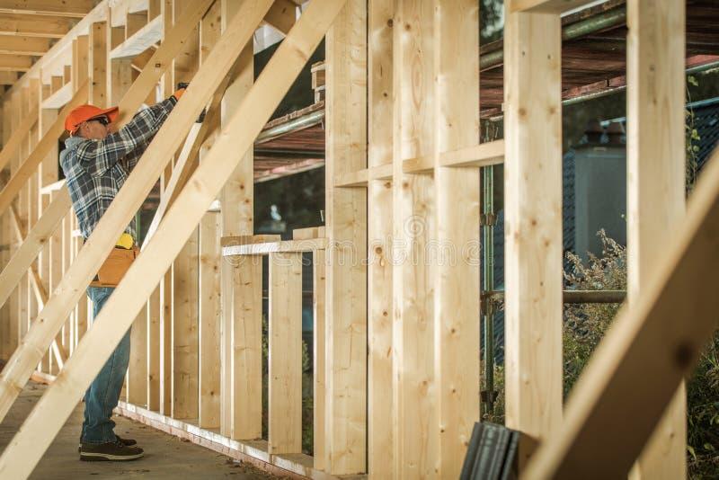 Wood House Construction Job stock photo