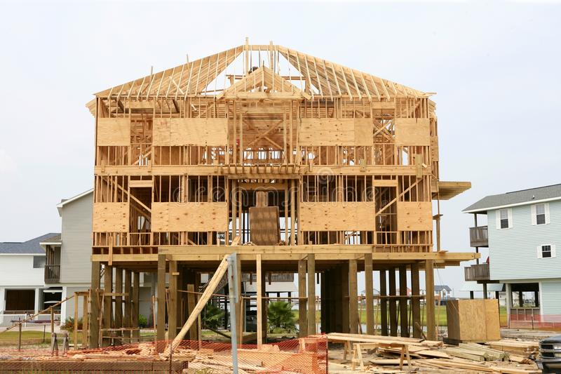 Beautiful Download Wood House Contruction, American Wooden Structure Stock Image    Image Of American, Facade