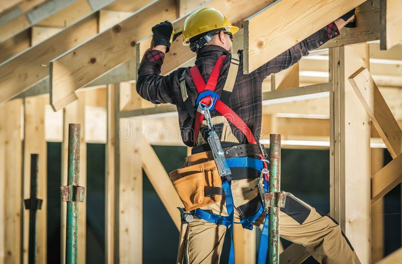 Wood House Frame Construction stock photos