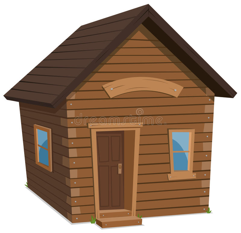 Wood House Lifestyle. Illustration of a simple cartoon spring or winter wooden little forest lodge, shack house, hut or cabin