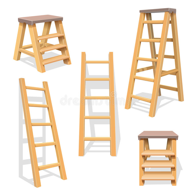 Free Wood Household Steps. Wooden Ladder Vector Set Royalty Free Stock Image - 94298076