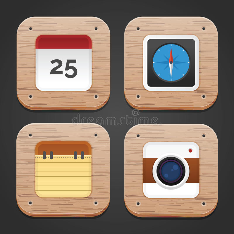 Wood Icon Set. Rounded Icon with Wood texture and pattern royalty free illustration