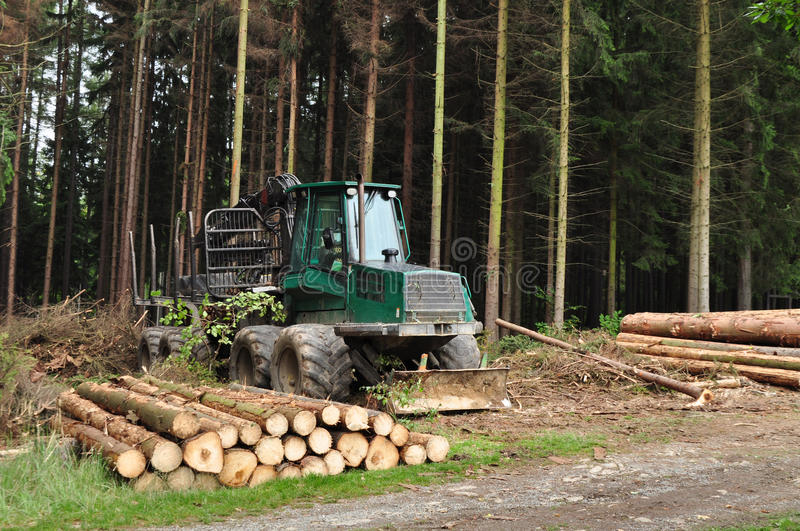 Tractor transporter, forest machine stock image