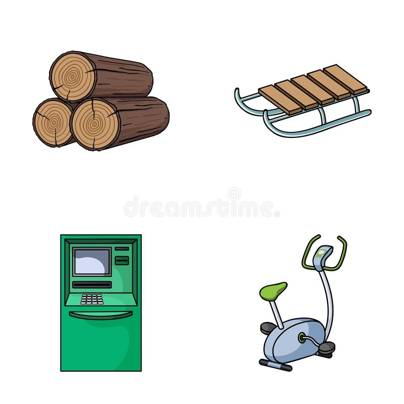 Wood industry, finance and other web icon in cartoon style.game, fitness icons in set collection. stock illustration